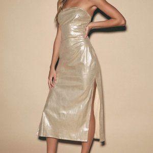 LULU'S Metallic Strapless Midi Dress